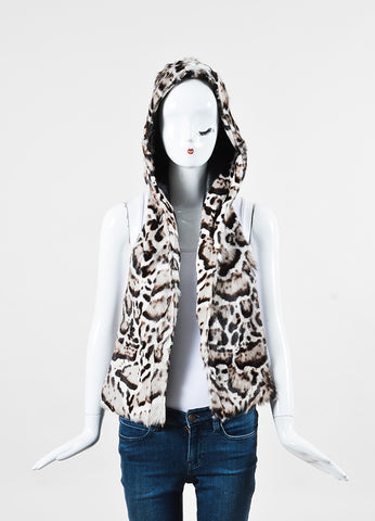 Christopher Kane Cream Brown Fur Animal Print Hooded Scarf front