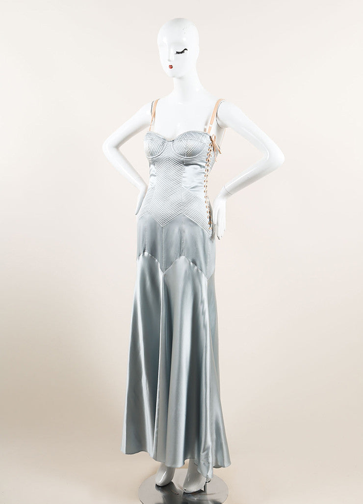 Dolce & Gabbana Light Blue Satin Paneled Lace Up Corset Gown Sideview