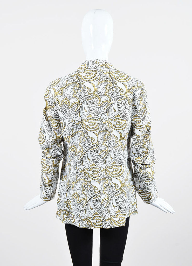 White, Hunter and Olive Green Etro Cotton Paisley Blazer Backview