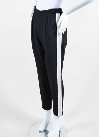 "Fendi Black, Grey, and White Striped Tapered ""Sable"" Jogging Pants Sideview"
