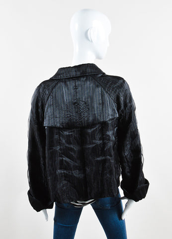 Giorgio Armani Black Organza Button Cropped Swing Jacket Backview