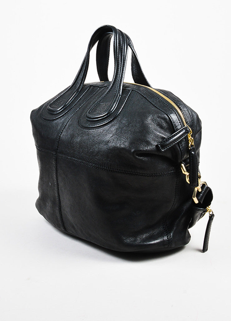 "Givenchy Black Leather ""Medium Nightingale"" Shoulder Bag Sideview"