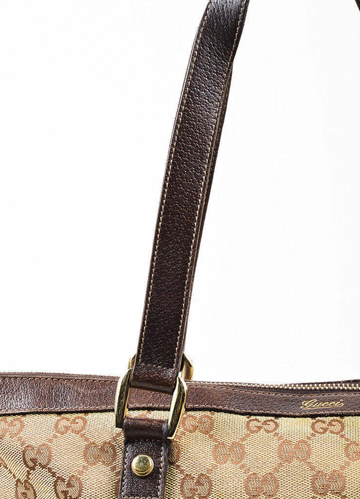 "Gucci Beige and Brown Canvas Leather Trim Medium ""Abbey"" Tote Bag Detail 2"