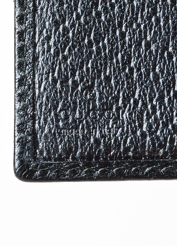"Gucci Black Canvas Leather Monogram ""Abbey"" Continental Snap Wallet detail"