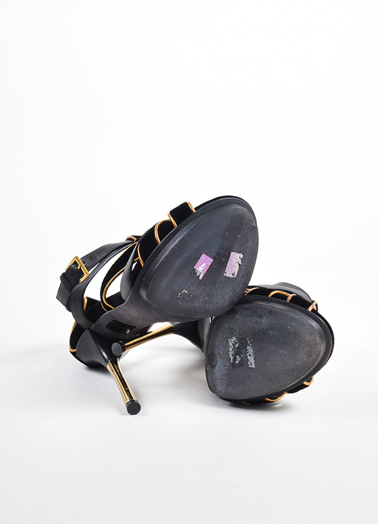 "Gucci Black and Gold Suede Leather Metallic ""Malika"" Sandal Heels Outsoles"
