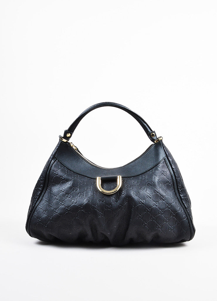 "Gucci Black Leather Logo Embossed ""Guccissima"" Hobo Bag Frontview"