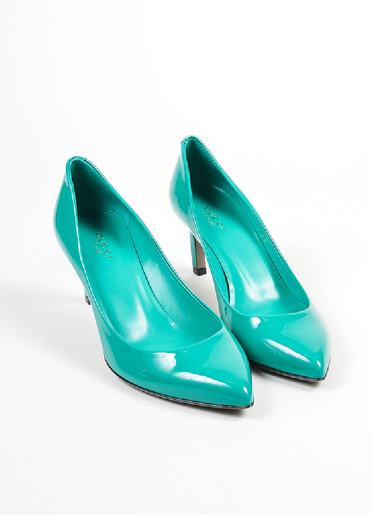 """Spring Water"" Teal Gucci Patent Leather Pointed Toe 65mm Pumps Frontview"