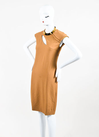Gucci Tan and Gold Toned Metal Plate Cap Sleeve Necklace Dress Sideview