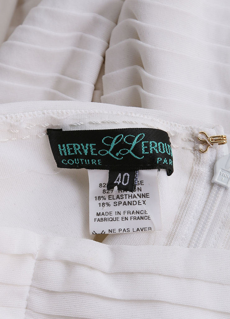 Herve Leroux New With Tags White Stretch Sleeveless Ruched Flounce Dress Brand