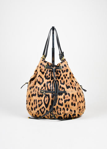 "Tan and Brown Jerome Dreyfuss Pony Hair Leopard Drawstring ""Alain"" Bucket Bag Frontview"