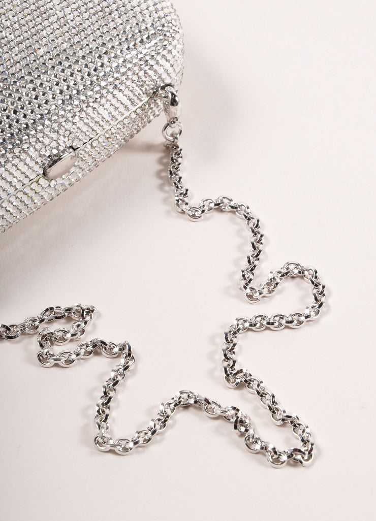 "Judith Leiber New With Tags Silver Toned Rhinestone ""Libra"" Chain Strap Clutch Bag Detail 2"