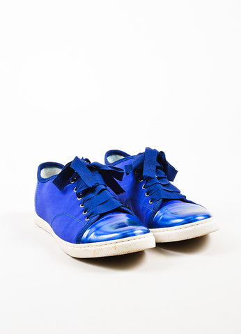 Lanvin Blue Canvas Metallic Leather Cap Toe Lace Up Sneakers Frontview