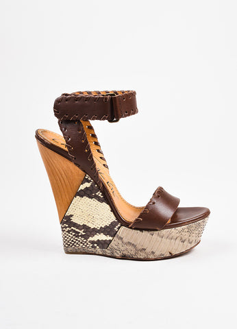 Lanvin Brown, Grey, and White Leather and Snakeskin Ankle Wrap Wedge Sandals Sideview