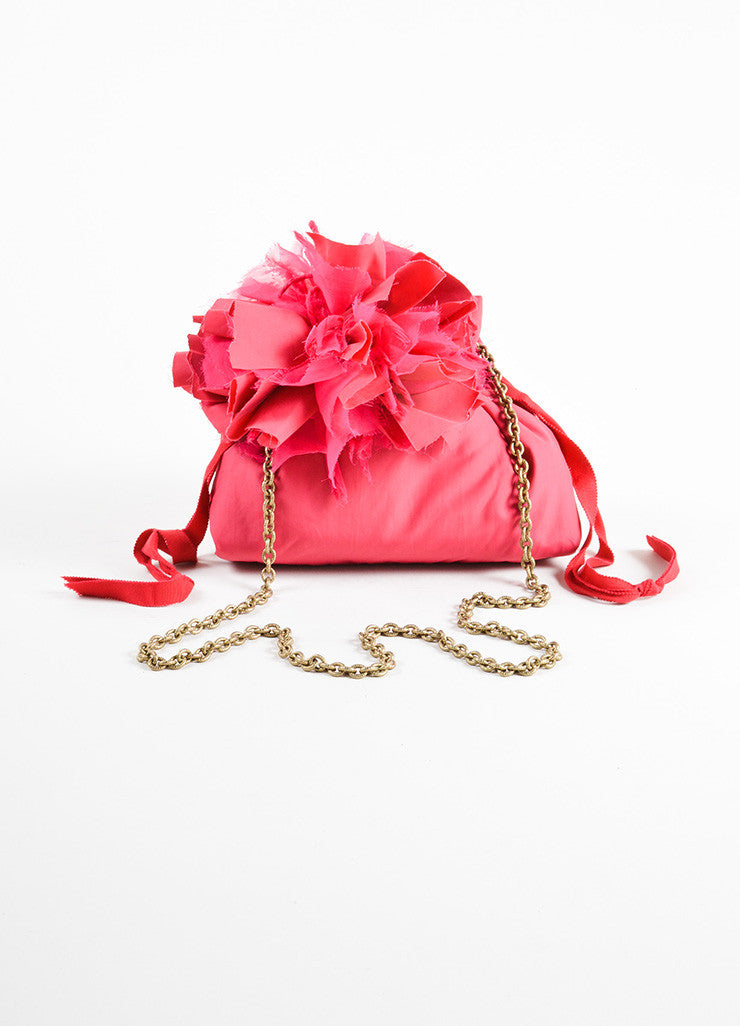 Lanvin Pink Cotton and Nylon Pompom Flower Evening Pouch Shoulder Bag Frontview