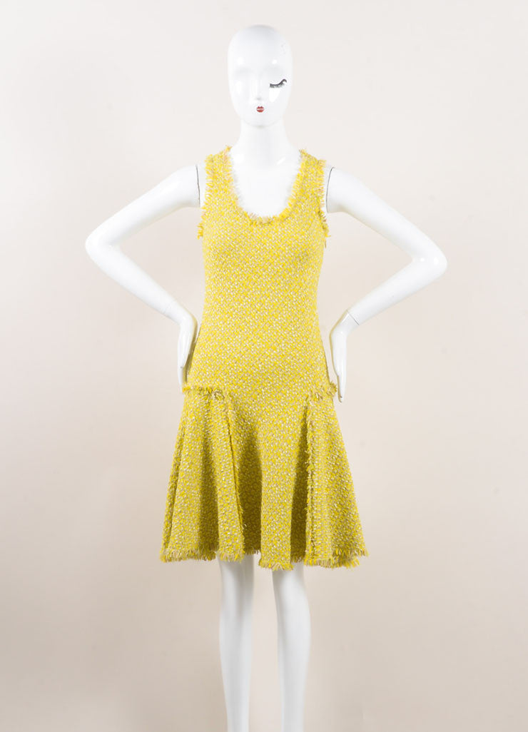 Lanvin Yellow and Green Woven Knit Frayed Trim Pleated Sleeveless Dress Frontview