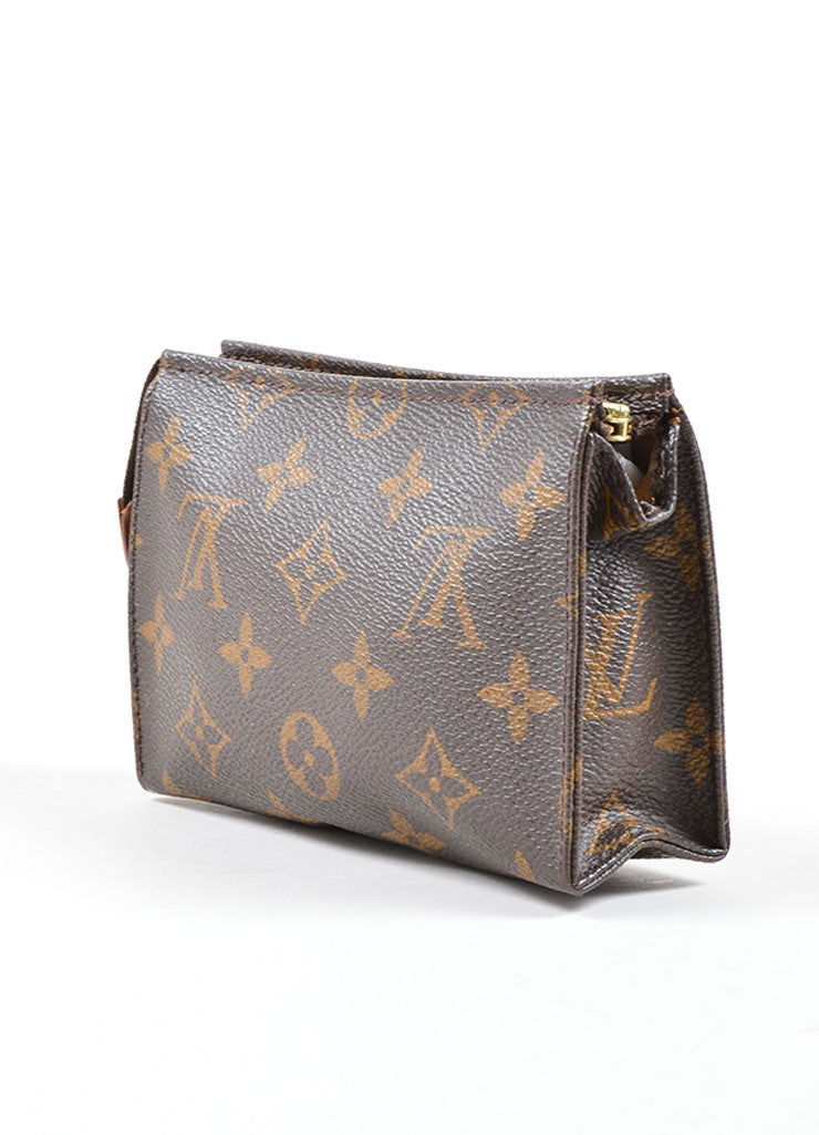"Louis Vuitton Brown Coated Canvas Monogram ""Toiletry Pouch 15"" Bag Sideview"