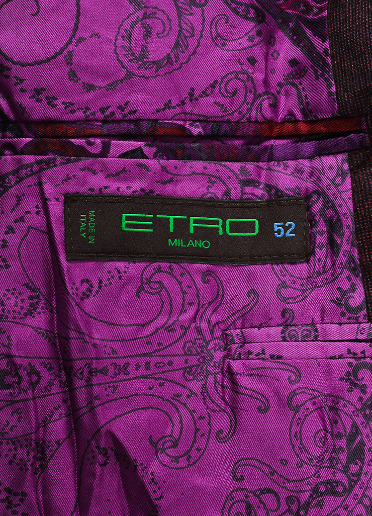 Men's Etro Maroon Black Corduroy Two Button Sport Blazer Jacket Brand