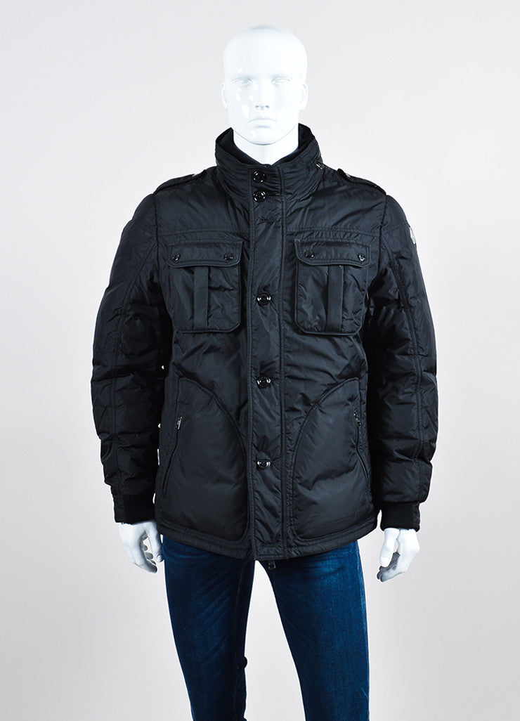 Men's Moncler Black Down Winter Coat Frontview 2
