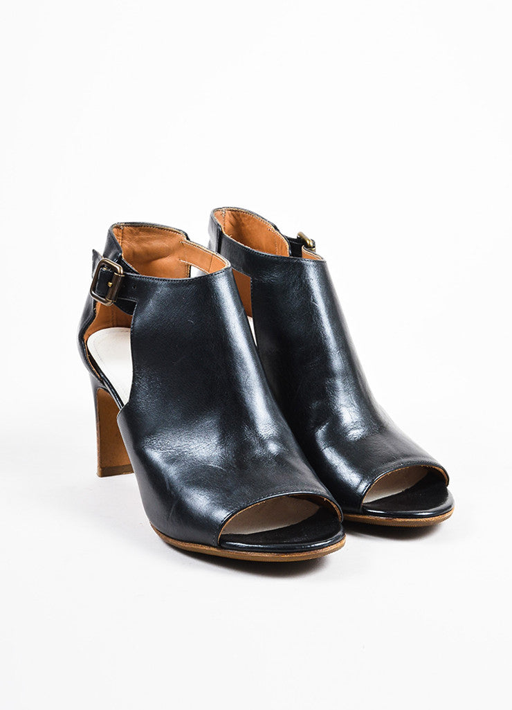 Maison Martin Margiela Black Leather Peep Toe Cut Out Ankle Boots Frontview