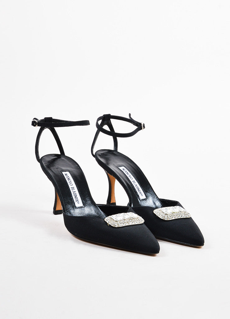 Manolo Blahnik Black Satin Crystal Embellished Pointed Toe Pumps Frontview