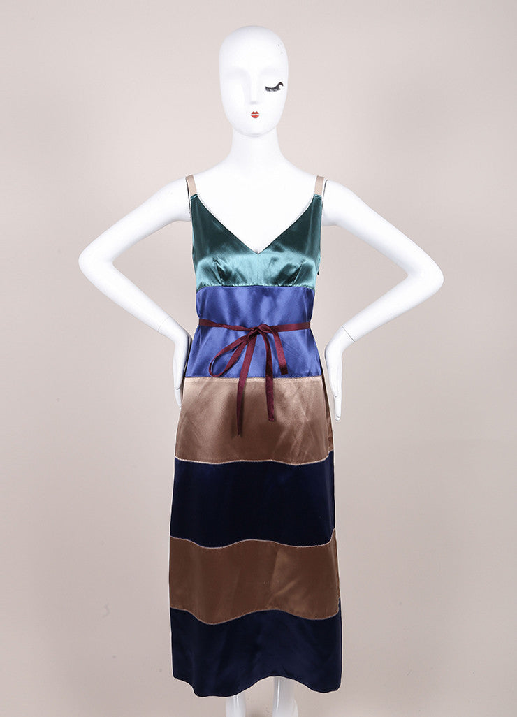 Marc Jacobs New With Tags Green, Blue, and Taupe Striped Satin Sleeveless A-Line Dress Frontview