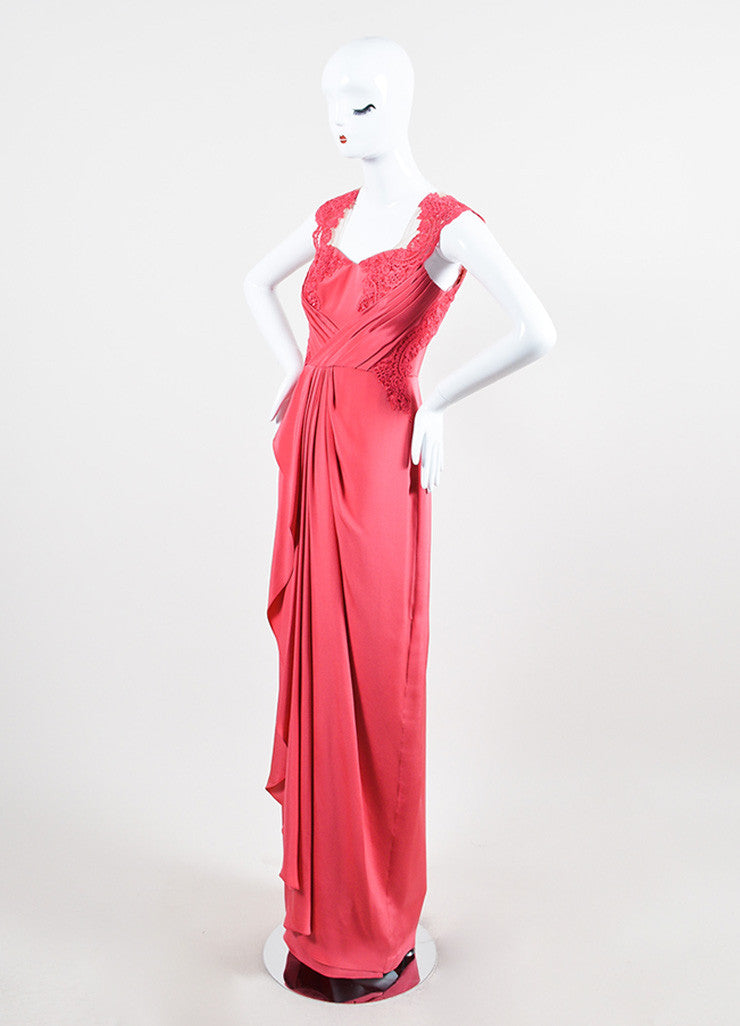 Marchesa Notte Coral Silk Illusion Lace Pleat Sweetheart Sleeveless Gown Sideview
