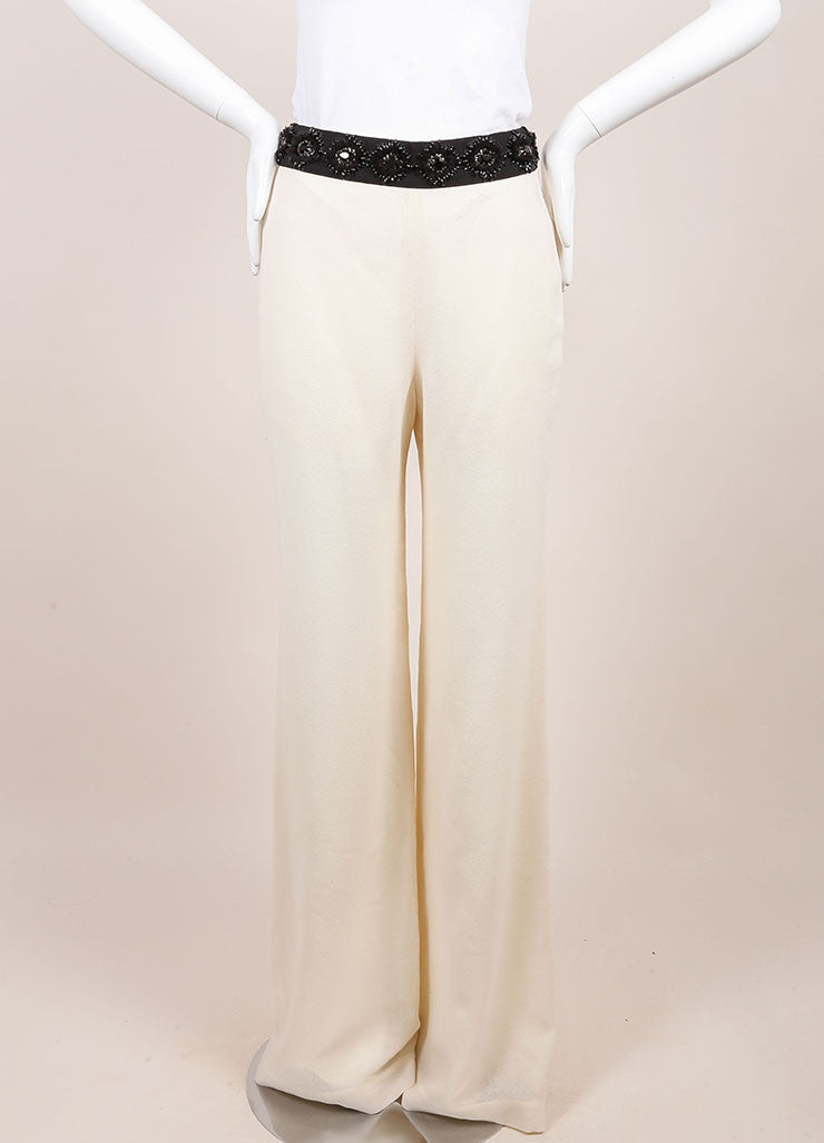 Naeem Khan New With Tags Ivory Wide Leg Wool Evening Pants Frontview