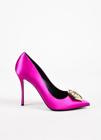 Nicholas Kirkwood Hot Pink Satin Rhinestone Eden Pointy Pumps Sideview