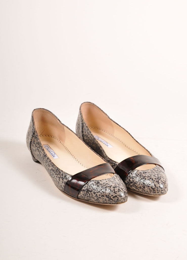 Oscar de la Renta Black and Beige Patent Tweed Tortoise Trim Ballerina Flats Frontview