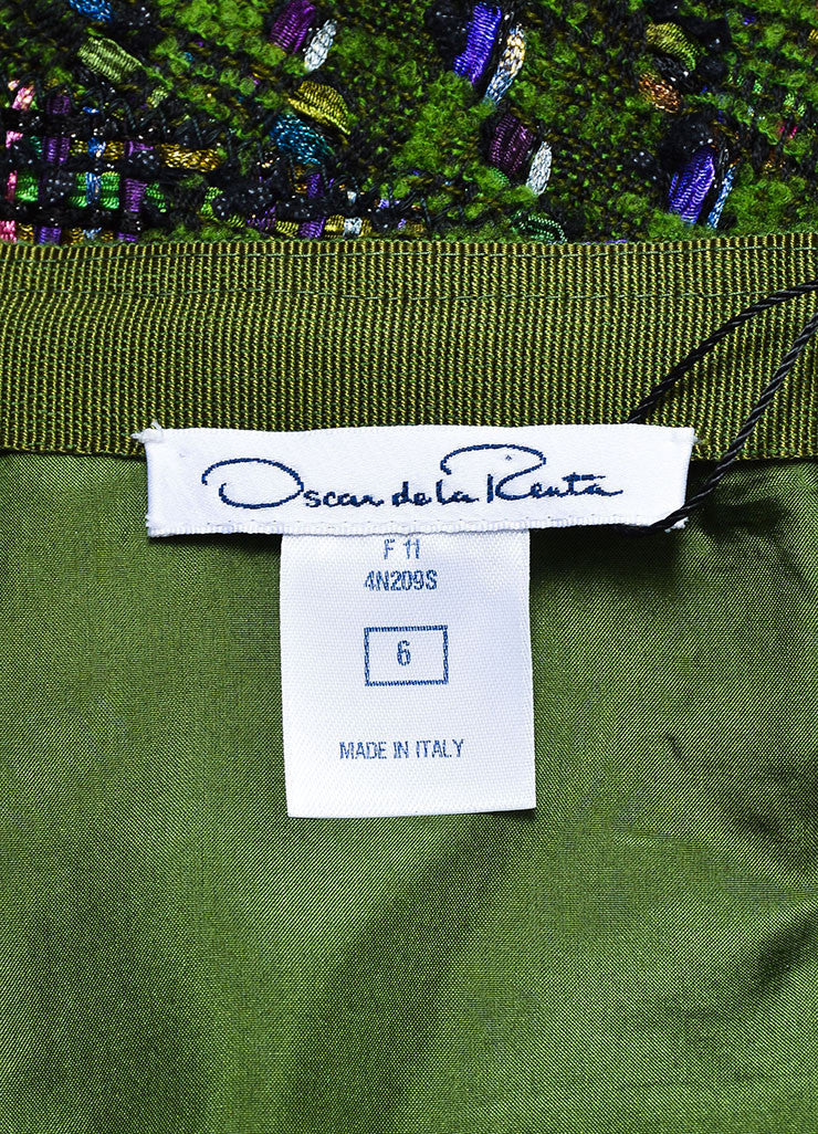 Oscar de la Renta Green, Purple, and Pink Wool Blend Tweed Flared Skirt Brand