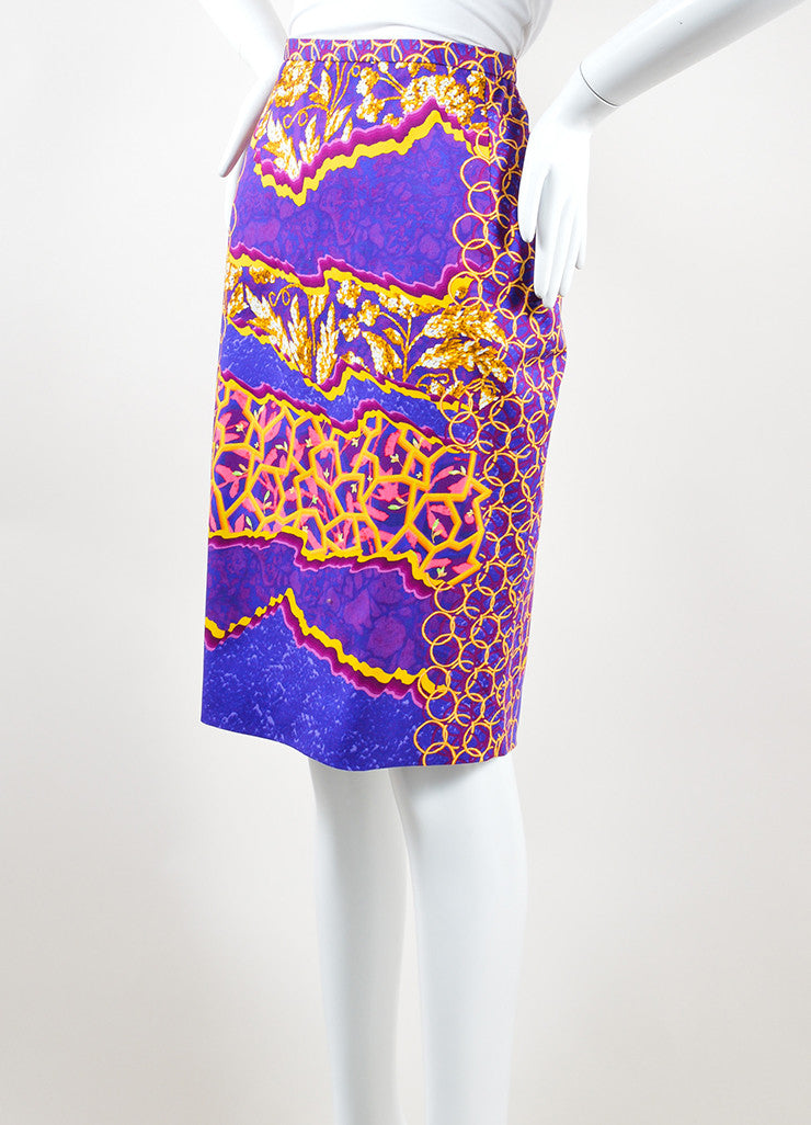 Peter Pilotto Multicolor Cotton Psychedelic Print Pencil Skirt Sideview