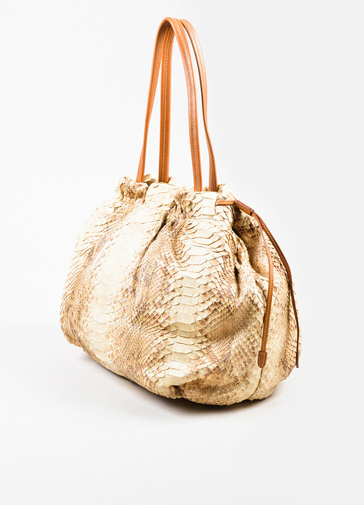 Cream and Taupe Prada Python Leather Shopping Tote Bag Sideview