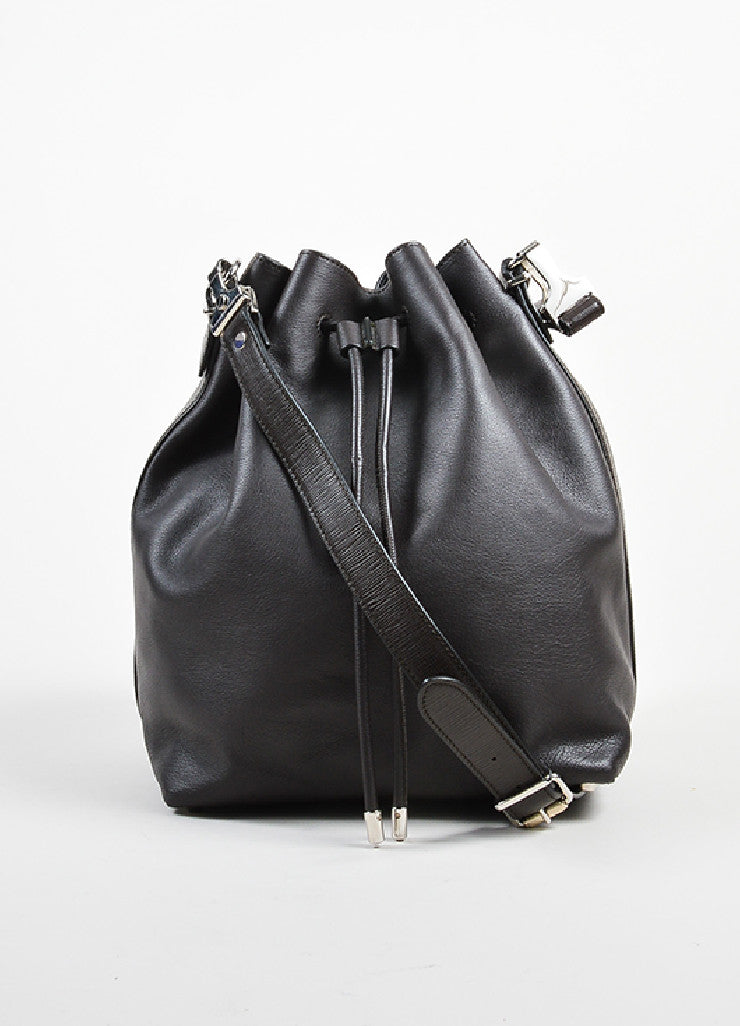 Proenza Schouler Brown and Black Leather Cross Body Bucket Bag with Pouch Frontview