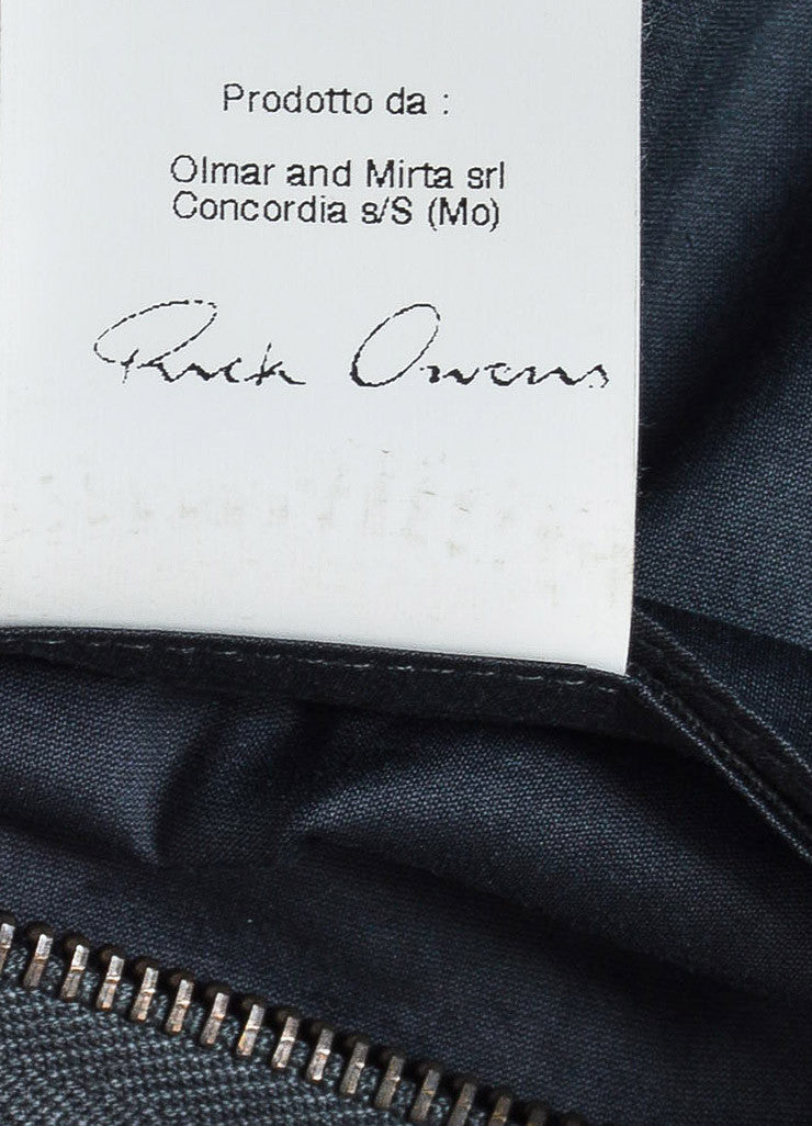 Rick Owens Grey Leather Hooded Moto Jacket Brand