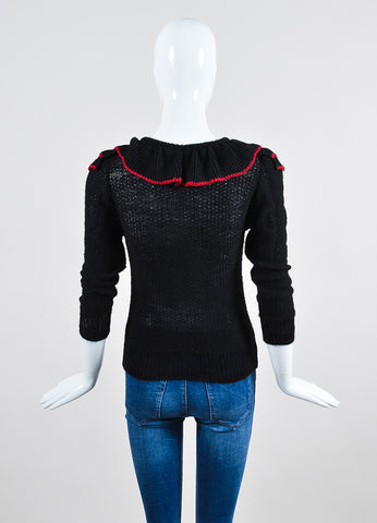 Black and Red Rodarte Wool Knit Ruffle Sweater Top  Backview
