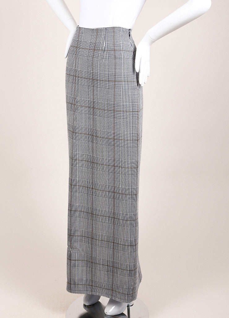 "Rosie Assoulin New With Tags Navy Wool Houndstooth ""Prince of Wales"" Maxi Skirt Sideview"
