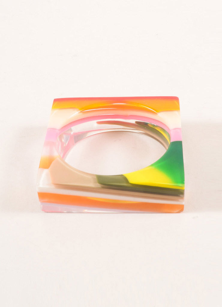 Sobra Multicolor Bright Resin Square Bangle Bracelet Brand