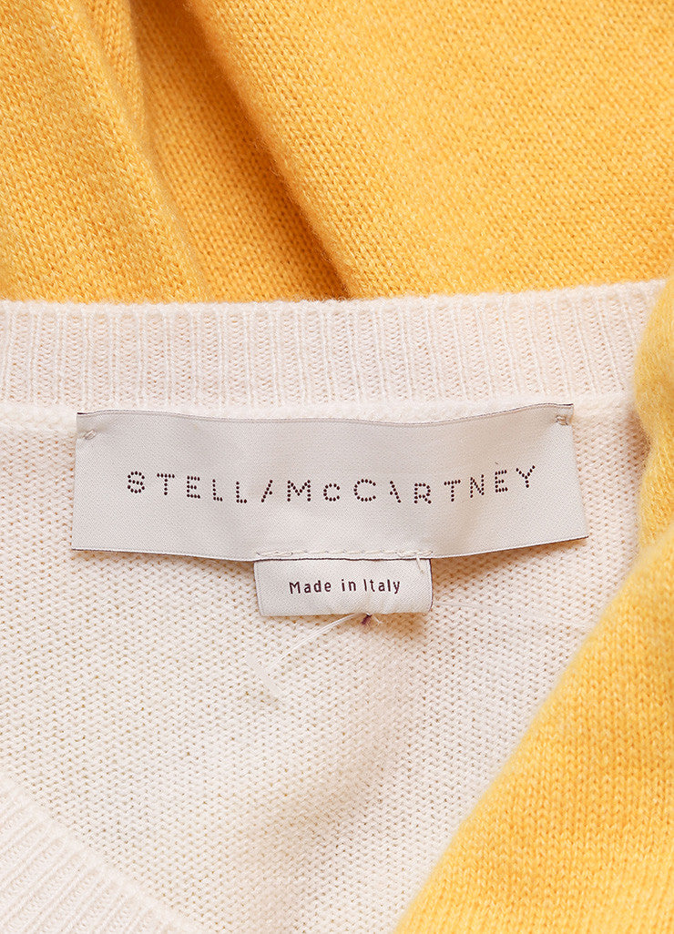 Stella McCartney Cream, Yellow, and Orange Cashmere Striped Long Sleeve Sweater Brand