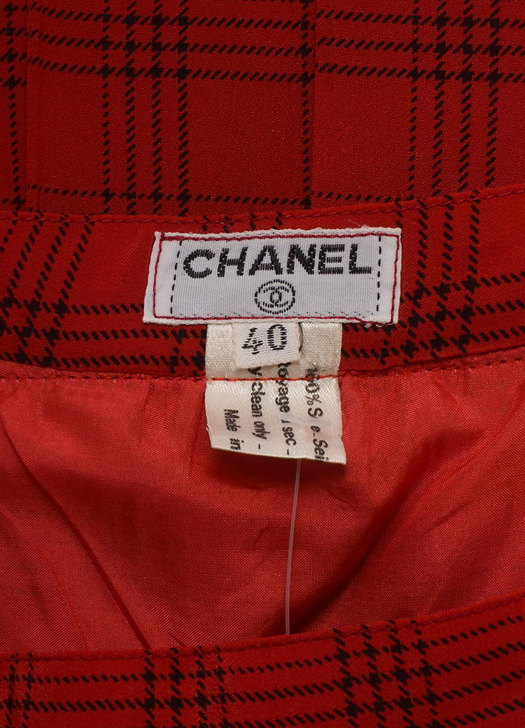 Chanel Red Plaid Pleated Midi Skirt Brand