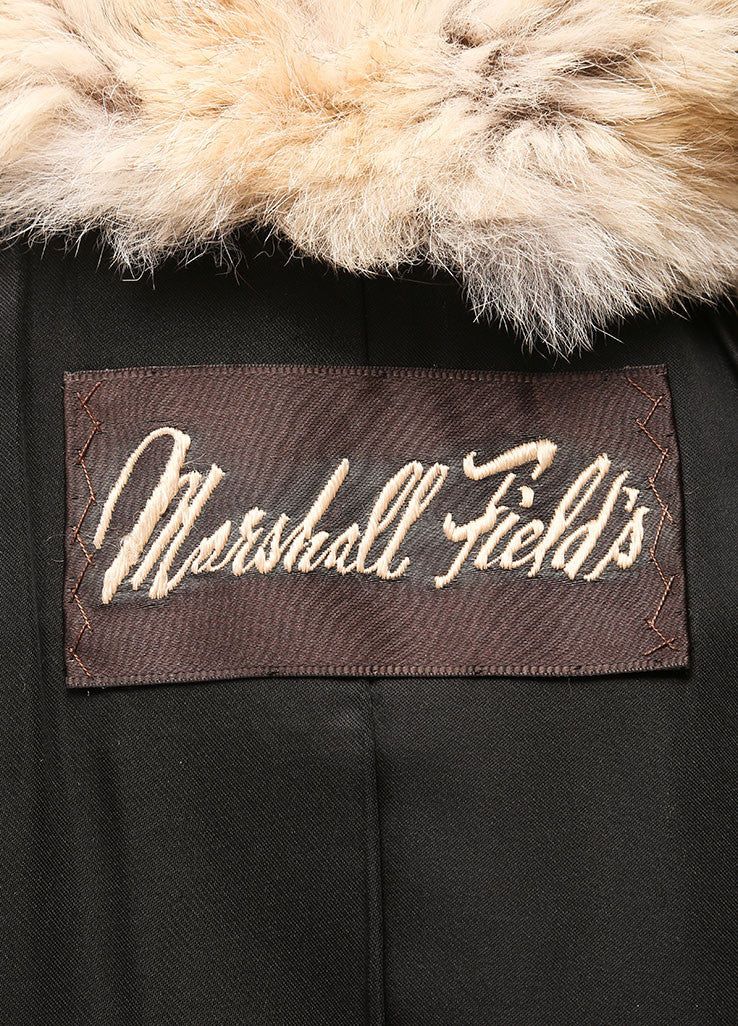 Marshall Fields Brown and Black Fur and leather Fringe Trim Mid Length Coat Brand