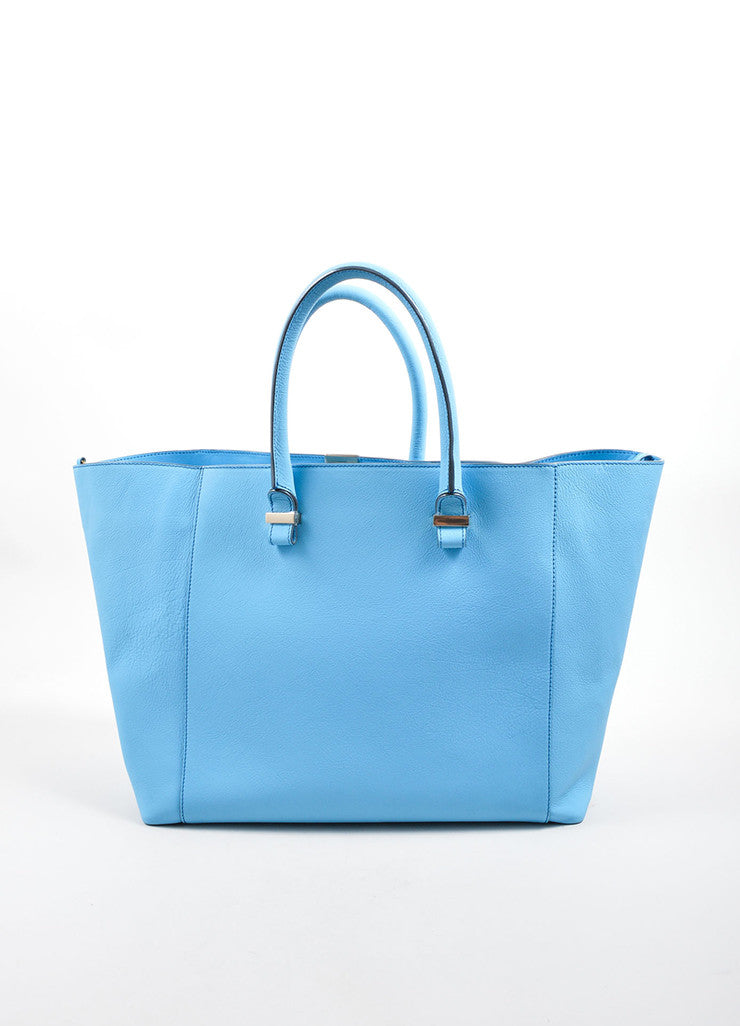 "Victoria Beckham Blue ""Celeste"" Buffalo and Calf Leather ""Liberty"" Tote Bag Frontview"