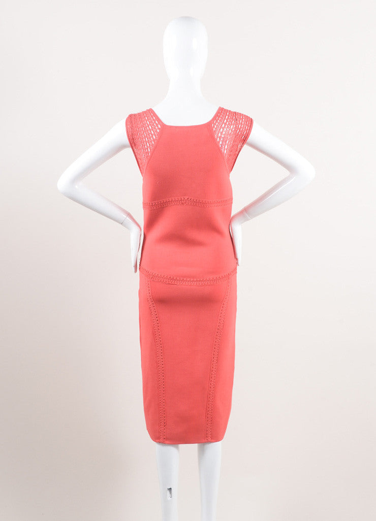 Zac Posen New With Tags Coral Woven Stretch Knit Crochet Trim Bodycon Dress Backview