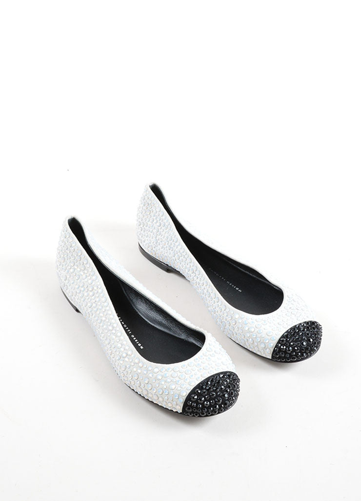 Giuseppe Zanotti Light Grey and Black Suede Bejeweled Cap Toe Flats Frontview