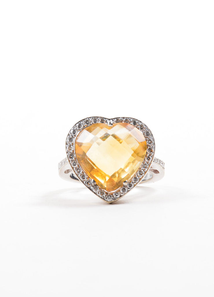 18K White Gold Citrine Diamond Embellished Heart Shaped Ring Frontview