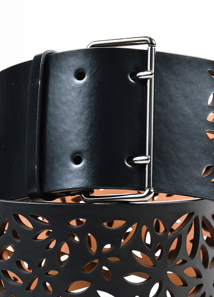 Alaia Black Leather Floral Laser Cut Out Wide Belt Detail