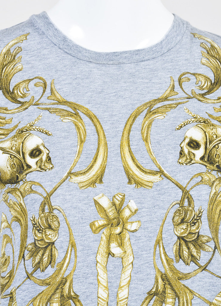 Alexander McQueen Heather Grey Cotton Skull and Bow Graphic T-Shirt Detail
