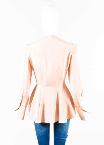 Alexander McQueen Light Pink Silk Pleated Peplum Long Sleeve Blouse