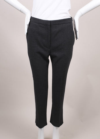 Alexander McQueen New With Tags Dark Grey Melange Crepe Wool Ankle Trousers  Frontview