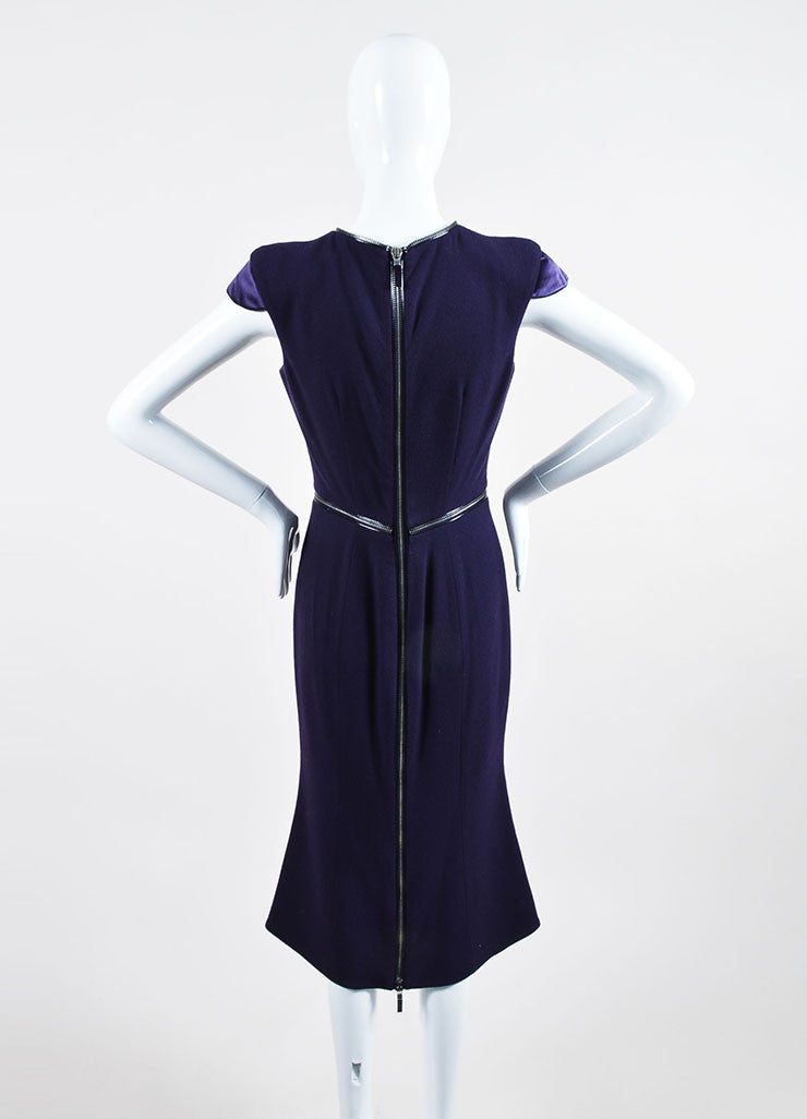 Purple Alexander McQueen Wool Zipper Cap Sleeve Dress Backview