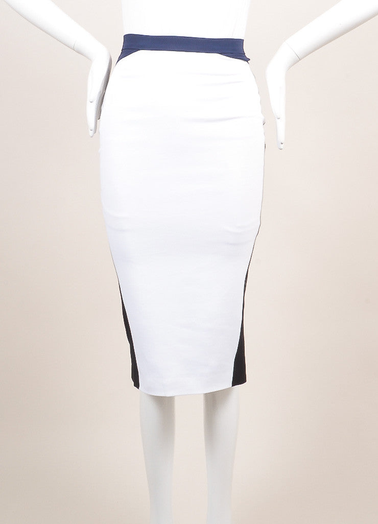 Altuzarra New With Tags White, Black, and Navy Colorblock Bodycon Skirt Frontview